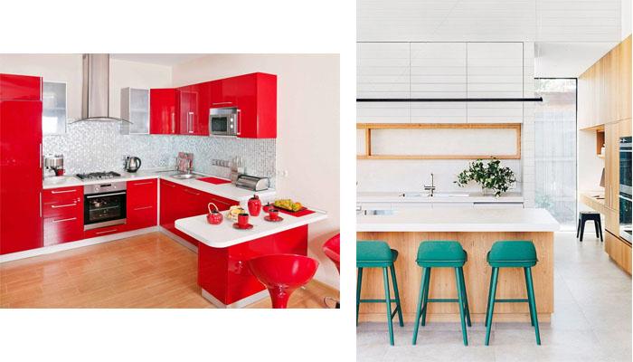 jugar con otros colores en las cocinas blancas